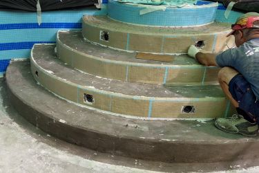 Arbeiter Mosaik runde Treppe