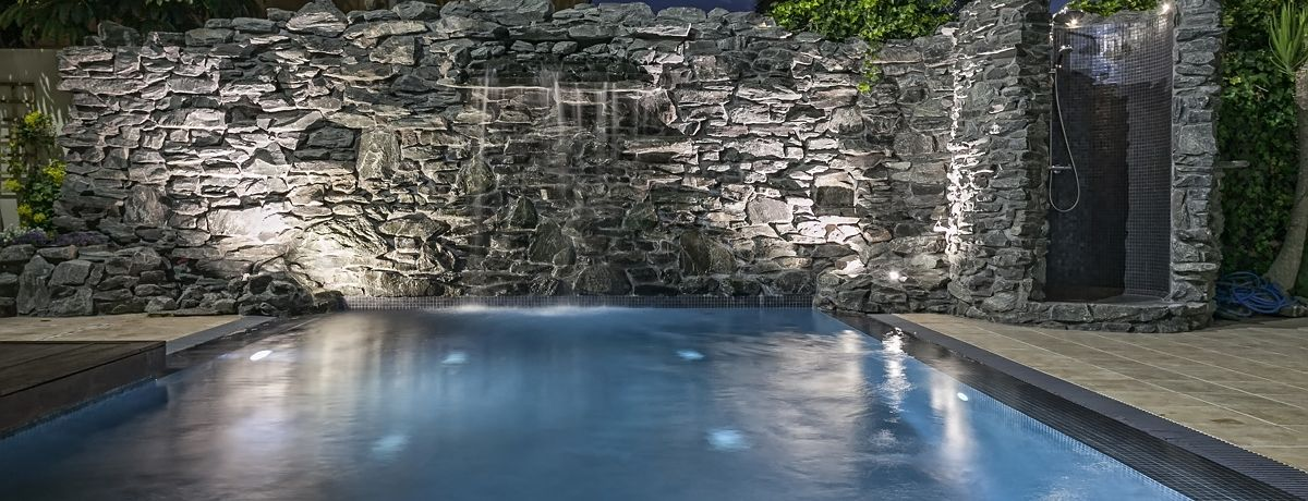 Waterfall in natural stone wall